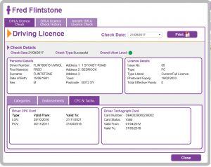 An overview of the dh Licence Check dashboard used for checking driver's licences.